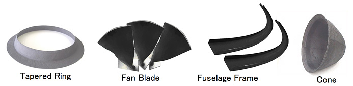 素材画像:Tapered Ring ,Fan Blade ,Fuselage Frame ,Cone